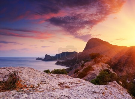 Photo for Landscape with a sunset and the cloudy sky - Royalty Free Image