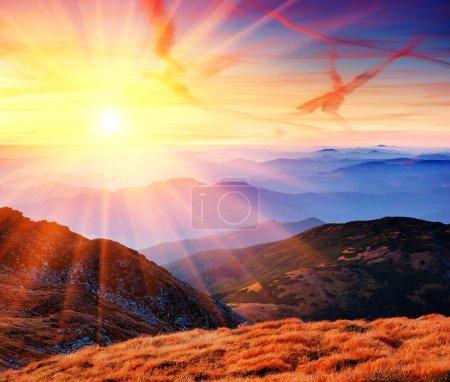 Photo for Dawn in mountains Karpati, Ukraine. Autumn morning - Royalty Free Image