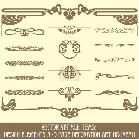 Illustration for Vector vintage items: design elements and page decoration - Royalty Free Image