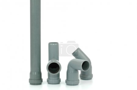 Photo of various PVC fittings for drainage