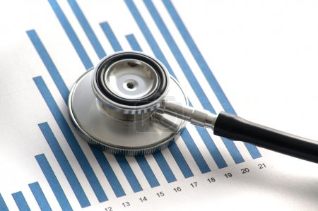 Stethoscop on a statistics graphic