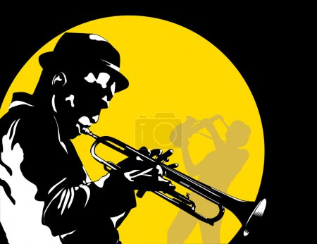 Man playing trumpet on the background of the moon;...