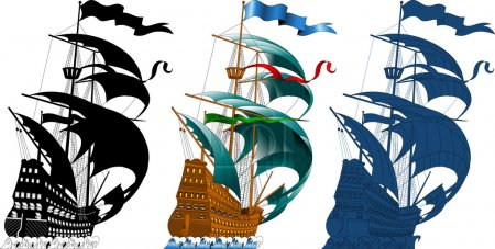 Illustration for Large sailing ship sailing on the waves (vector silhouette); - Royalty Free Image