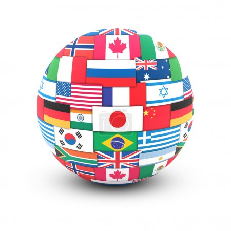 International communication concept. World flags on globe