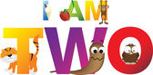 Childrens alphabet letters making the words i am two 2