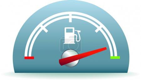 Illustration pour Cadran de consommation de carburant représentant un réservoir plein d'essence ou de diesel - image libre de droit