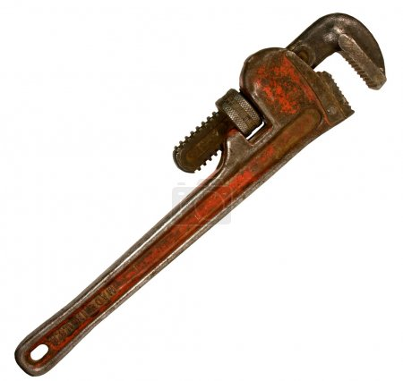 Vintage pipe wrench isolated