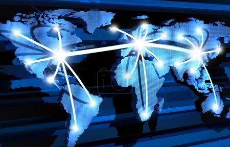 Photo pour Les communications mondiales et la terre (en 3d, abstrait ) - image libre de droit