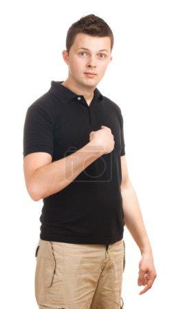 Photo pour Jeune homme gesticulant à lui-même. isolé sur blanc. - image libre de droit