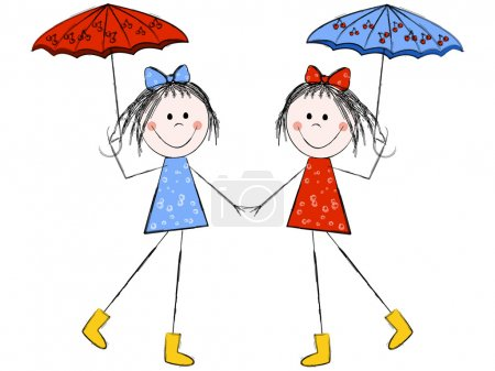 Illustration for Twin girls with umbrellas holding hands - Royalty Free Image