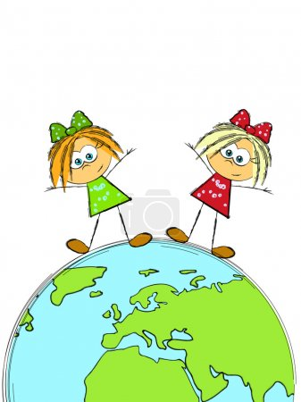Little girls and Earth planet - concept of global ...