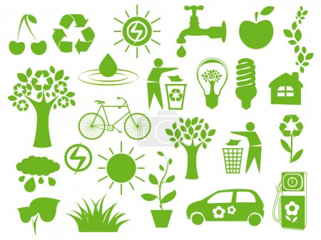 Illustration for Set of green icons - concept of ecology - Royalty Free Image