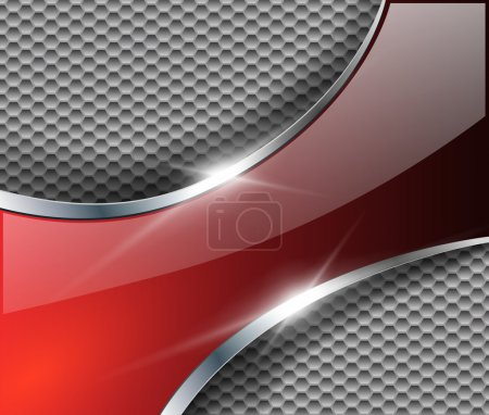 Illustration for Abstract metallic background with glossy banner, vector. - Royalty Free Image
