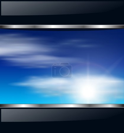 Illustration for Abstract background with clouds and sunny sky, vector. - Royalty Free Image
