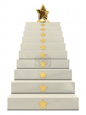 Stairs and golden star trophy on the top