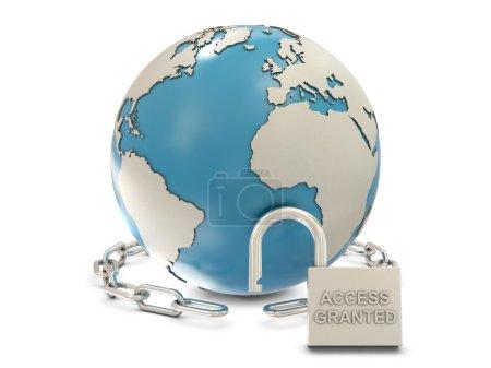 Photo pour Terre, chaîne et cadenas ouvert avec accès accordé texte isolé sur fond blanc - image libre de droit