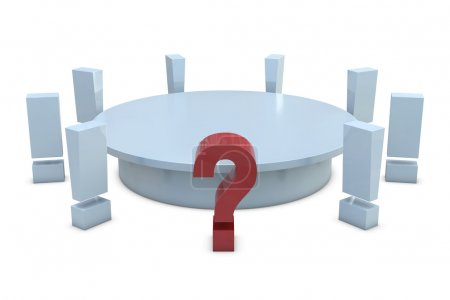 Round table with red question and group of white exclamation marks