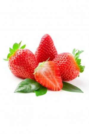 Photo for Delicious strawberries on green leaves on white isolated background - Royalty Free Image