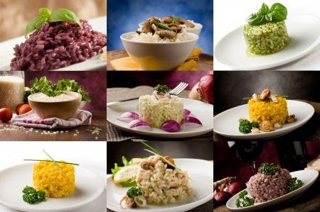 Photo for Photo of delicious different risotto meals arranged into a collage - Royalty Free Image