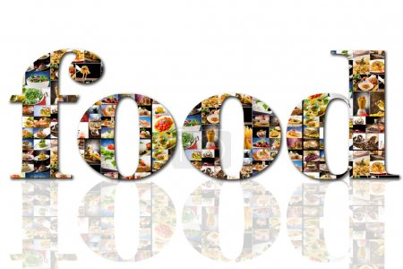 Photo for Photo of food text composed of different food images - Royalty Free Image