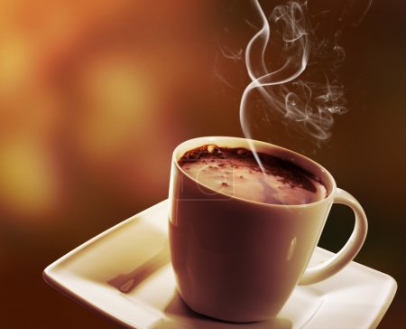 Photo for Cup of black coffee and cake on dark background - Royalty Free Image