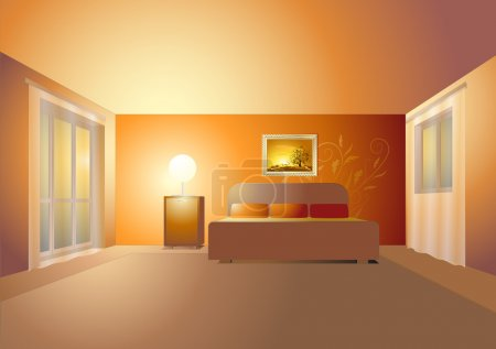 Illustration for Bedroom interior - Royalty Free Image