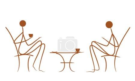 Illustration pour Dessin vectoriel symbolique couples dans le café - image libre de droit