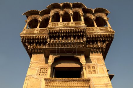 Photo for Old ancient haveli at jaisalmer fort, rajasthan during sunset - Royalty Free Image