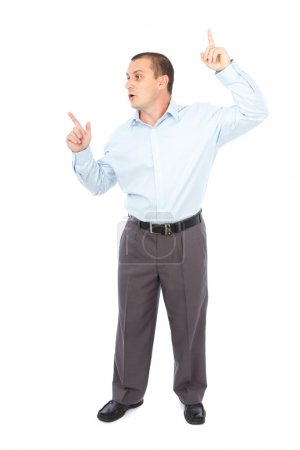 Businessman pointing at copyspace