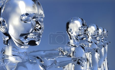 Photo for Glassy 3d cyber men in perspective with open arms over blue background. - Royalty Free Image