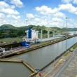 Panama Canal with a large container ship full of c...