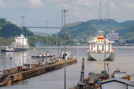 Cargo Ships passing through Panama Canal