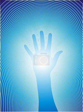Illustration for Vectorial illustration of a hand and the reiki line. - Royalty Free Image