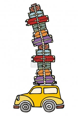 Illustration for Illustration of a funny car with a lot of luggage on the roof. Vector file available. - Royalty Free Image