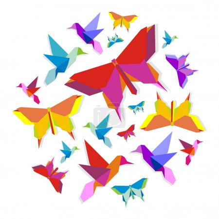 Illustration for Origami spring butterfly and hummingbird group in circle. - Royalty Free Image