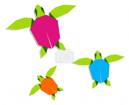 Illustration for Group of multicolored origami turtle. Vector file also available. - Royalty Free Image