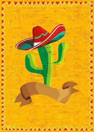 Photo pour Personnage de dessin animé drôle mexicain cactus et illustration de ruban sur fond de grunge. Utile pour la conception de menu . - image libre de droit