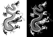 Black and white chinese dragon vector