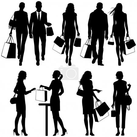 Photo for Several , shopping - vector silhouettes - Royalty Free Image