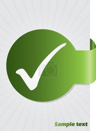 Illustration for Tick symbol on green folded sticker background design - Royalty Free Image