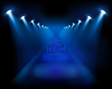 Illustration for Abstract blue staircase with lighting. Stage, theater. - Royalty Free Image