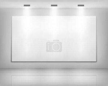 Illustration pour Cadre blanc dans la galerie d'art. Illustration vectorielle . - image libre de droit