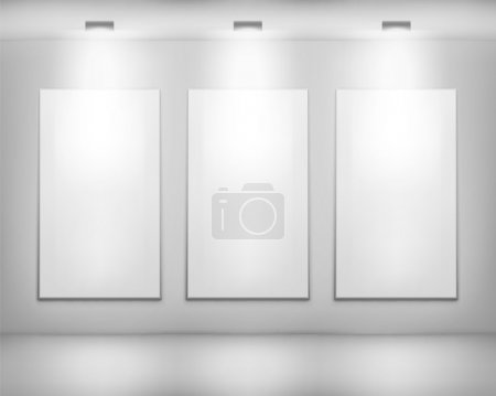 White frame in art gallery . Vector illustration.