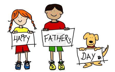 Photo pour Grands personnages enfantins : dessins au trait colorés des enfants garçon et fille et leur chien levant de panneau d'affichage du père heureux jour - image libre de droit