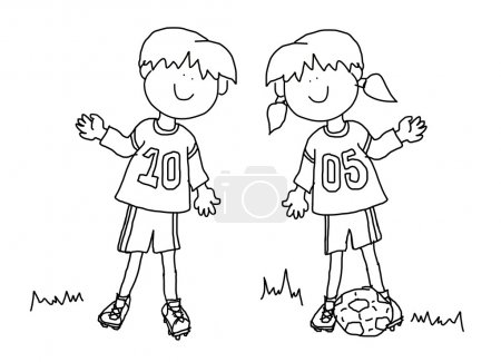 Boy and girl cartoon soccer player