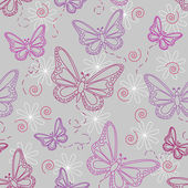 Seamless pattern of flying butterflies in shades of pinks and purples with white flowers over grey background