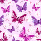 Seamless pattern of flying butterflies in shades of pinks and purples with white flowers over pale pink background