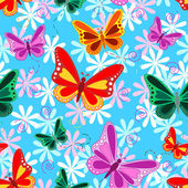 Seamless pattern of colorful flying butterflies with pastel color flowers over sky blue background
