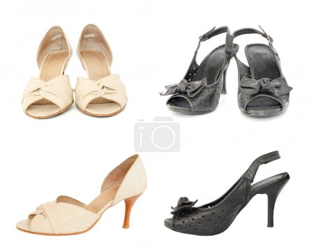 Two pairs of black and beige leather lady shoes