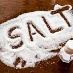 Salt written on counter in spilled salts...